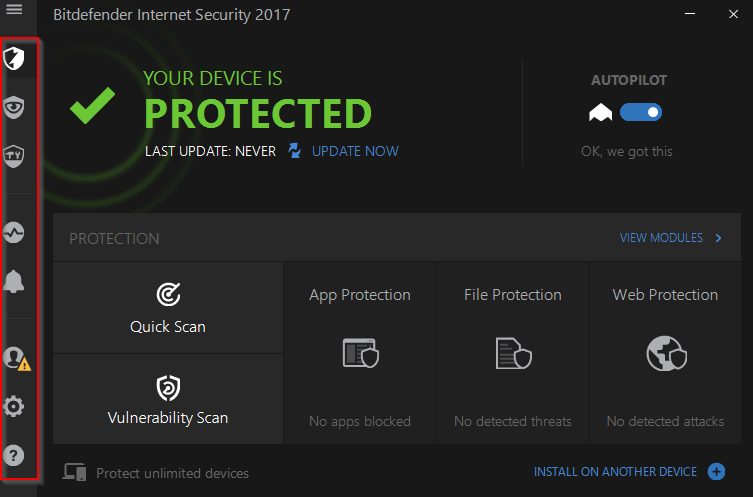 central interface of Bitdefender Internet Security 2017