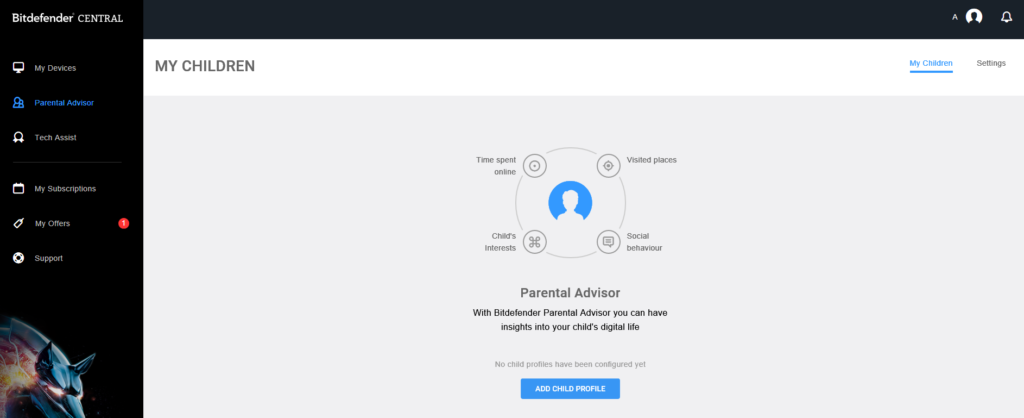 parental advisor for Bitdefender Internet Security 2017