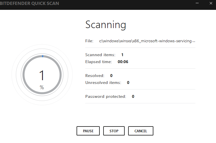 scanning using Bitdefender Internet Security 2017