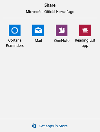 sharing options offered in Microsoft Edge