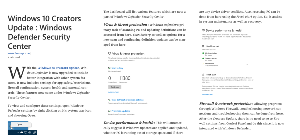 webpage displayed using reading view in Microsoft Edge