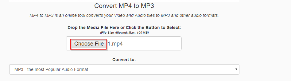 choosing source file for converting using mp4tomp3 online tool