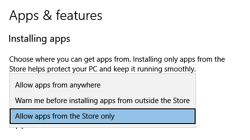restricting app installation in Windows 10