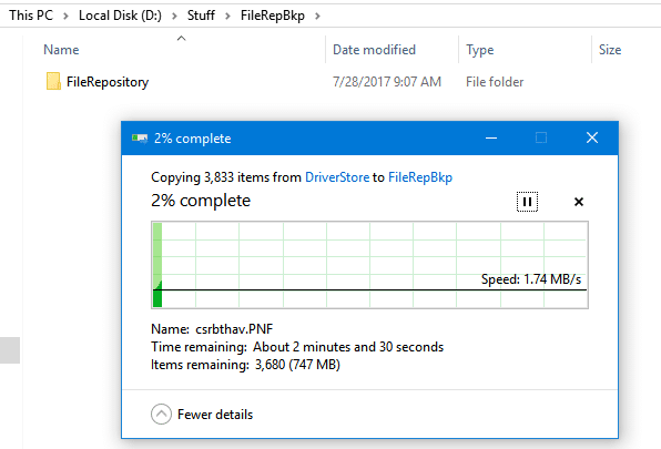 backing up file repository folder from windows 10 drivers path to a new location