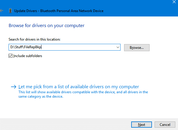 choosing the backed up drivers path for adding drivers in Windows 10