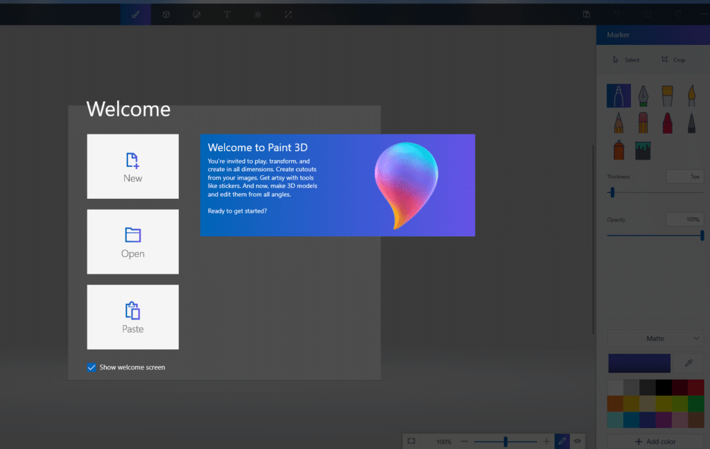 paint 3d launch screen