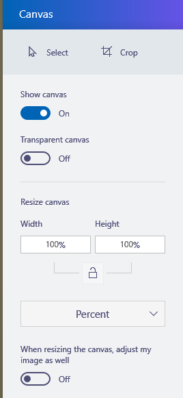 canvas area options in paint 3d