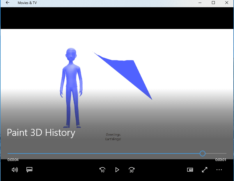 recorded history as a video in paint 3d