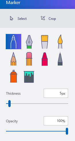 marker options in paint 3d