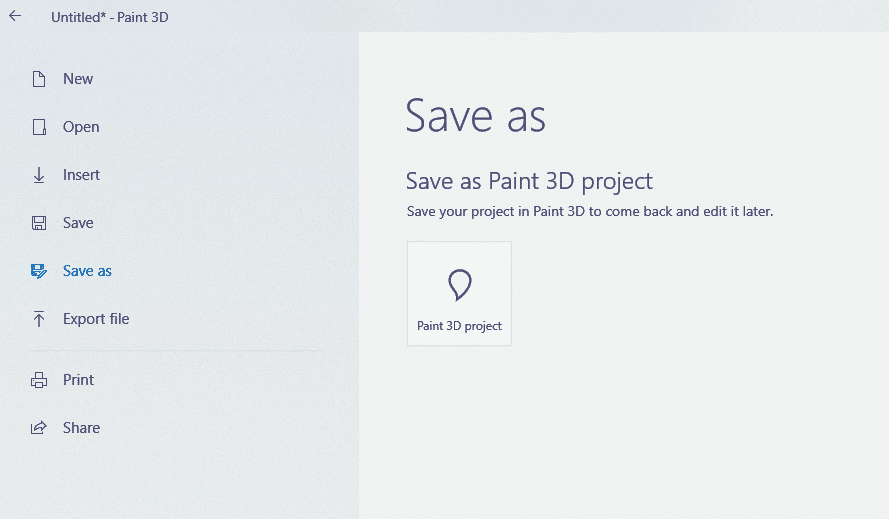 file save and other options in paint 3d