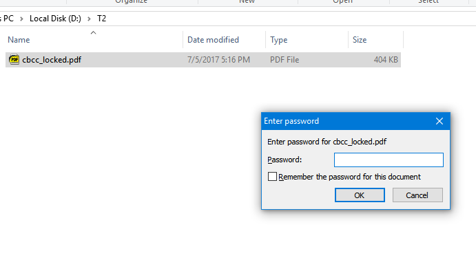 password protected PDF file