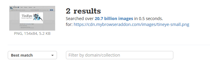 tineye results for the reverse searched image