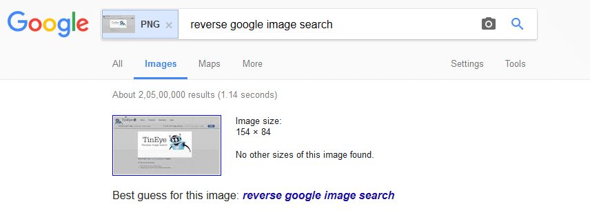 google images results for the reverse searched image