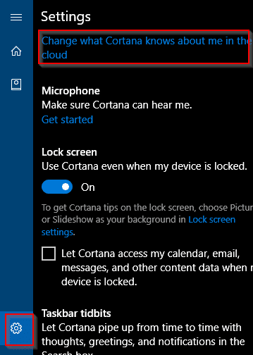 cortana settings in windows 10