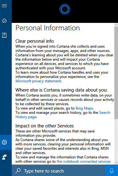 clearing personal information when using cortana