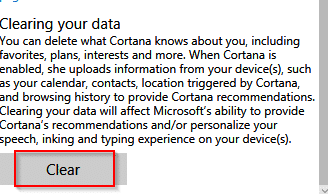 clearing all the personal information stored online by cortana