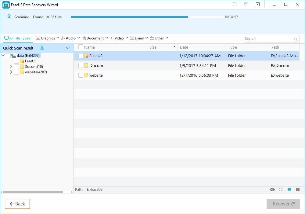 scanning for lost files and folders using easeus data recovery wizard