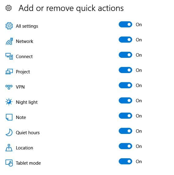 adding and removing quick actions icons in windows 10
