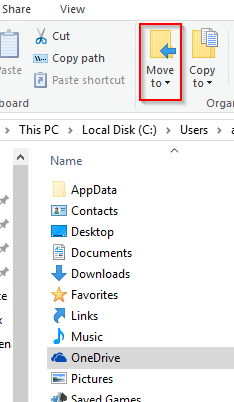moving onedrive folder to new location