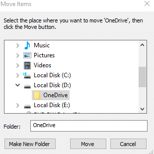 making a new location for onedrive folder