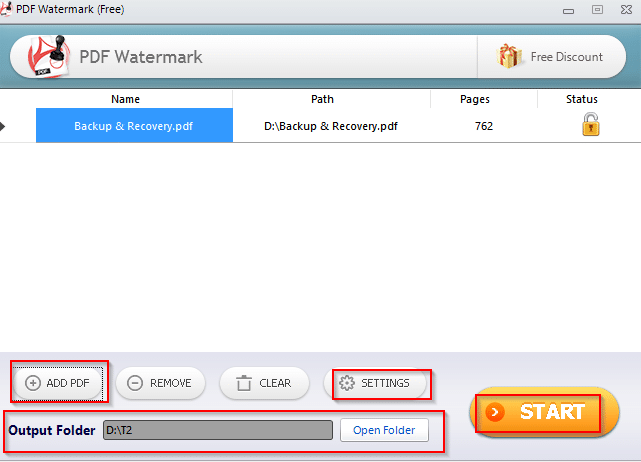 PDF watermark user interface