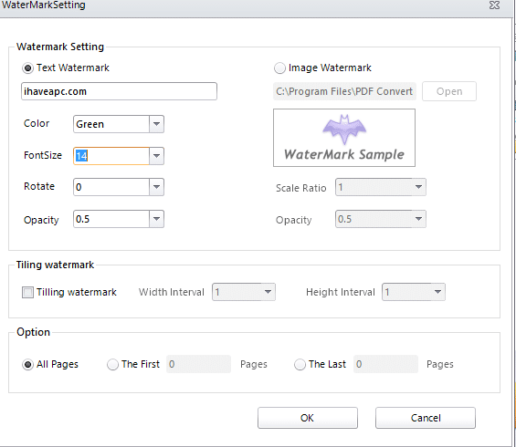 configuring settings in PDF watermark