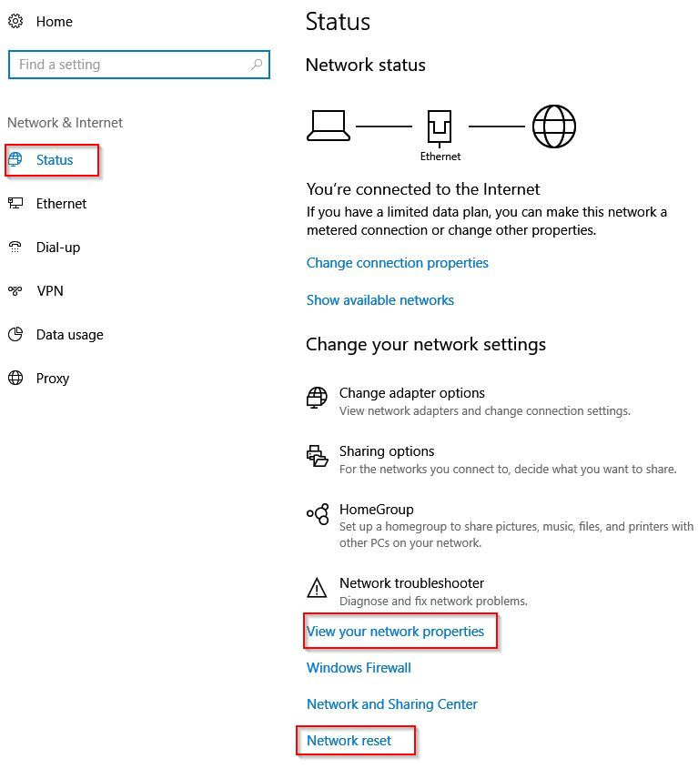 view Windows 10 network status and then reset