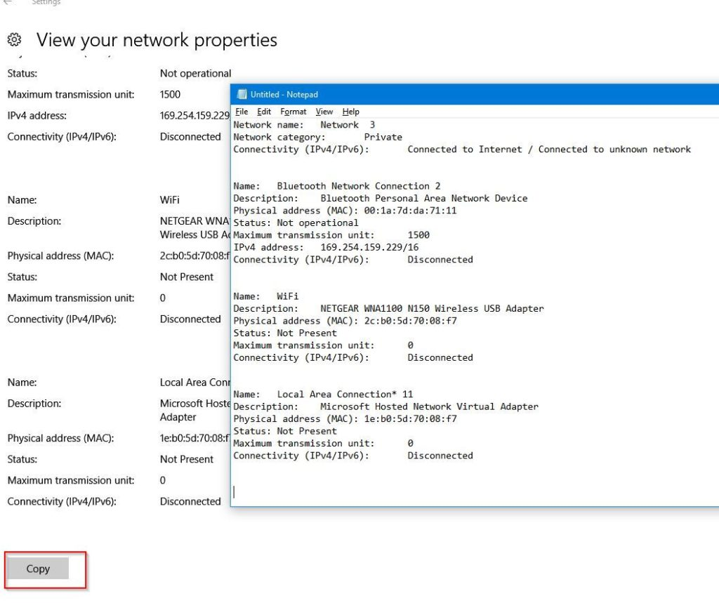 saving windows 10 network information to text file before reset