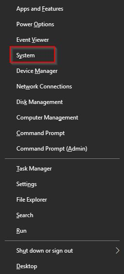 accessing system properties in Windows 10