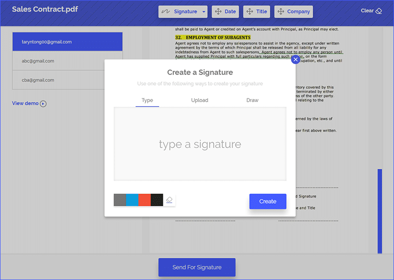 creating a signature using esign+