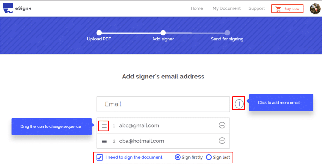 adding recipients in esign+