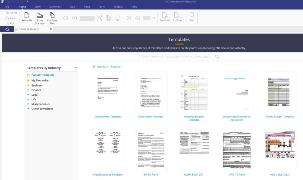 available templates in pdfelement 6 professional