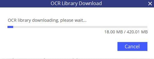 downloading OCR library in pdfelement 6 professional