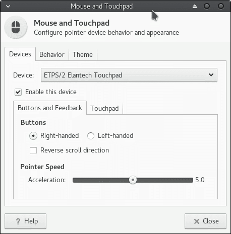 mouse and touchpad settings in manjaro linux