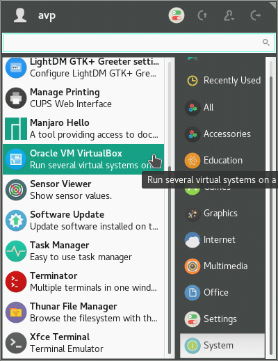virtual box installed in Manjaro Linux