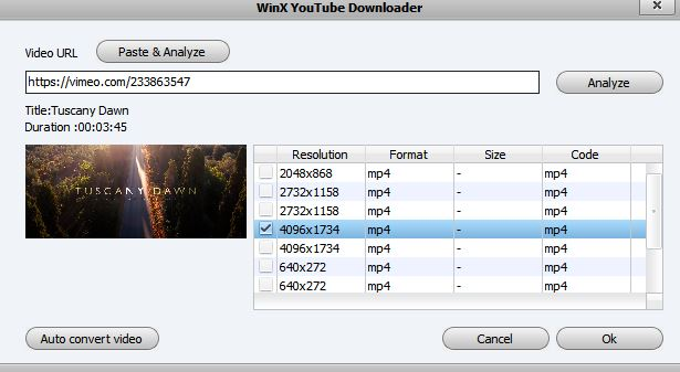 selecting resolution before downloading videos using WinX YouTube Downloader