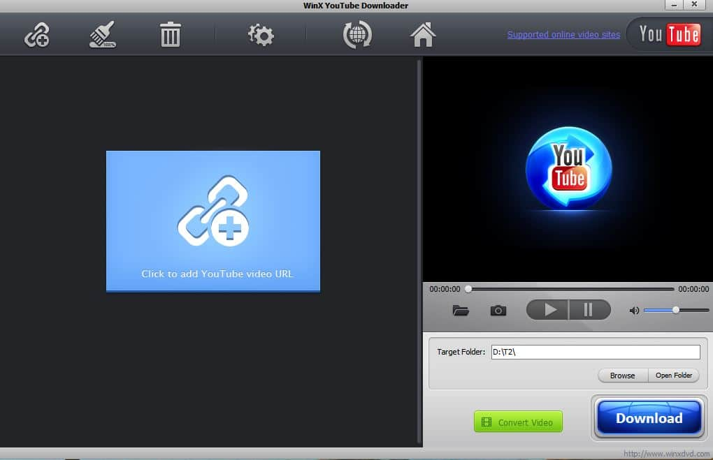 WinX YouTube Downloader main interface