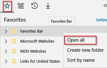 Favorites list in Edge