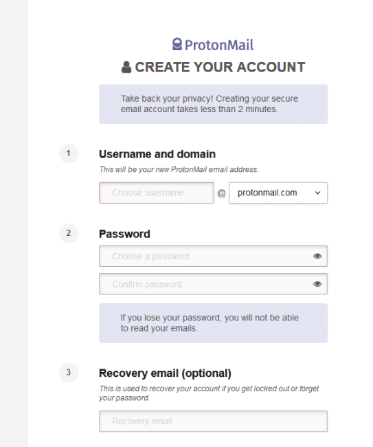 sign-up process for protonmail