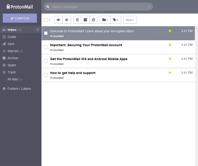 inbox layout for protonmail