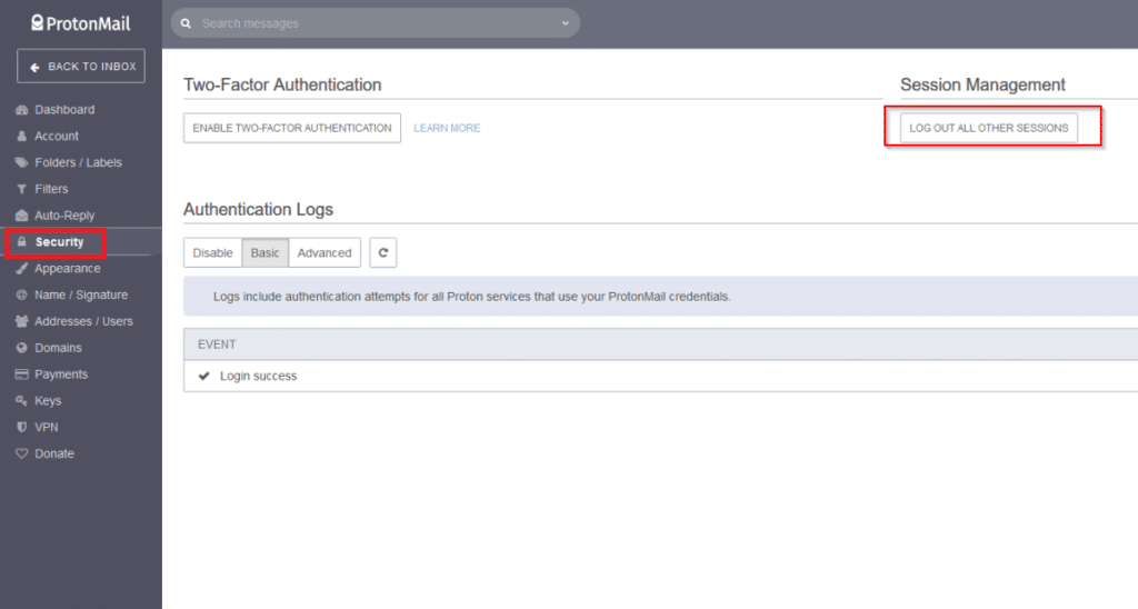 viewing security logs in protonmail
