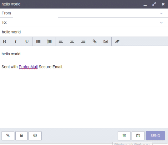 composer window in protonmail