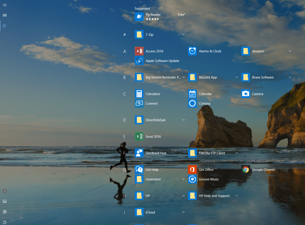All apps are directly visible on Windows 10 desktop after Start is enabled to full screen