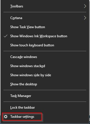 taskbar settings in windows 10