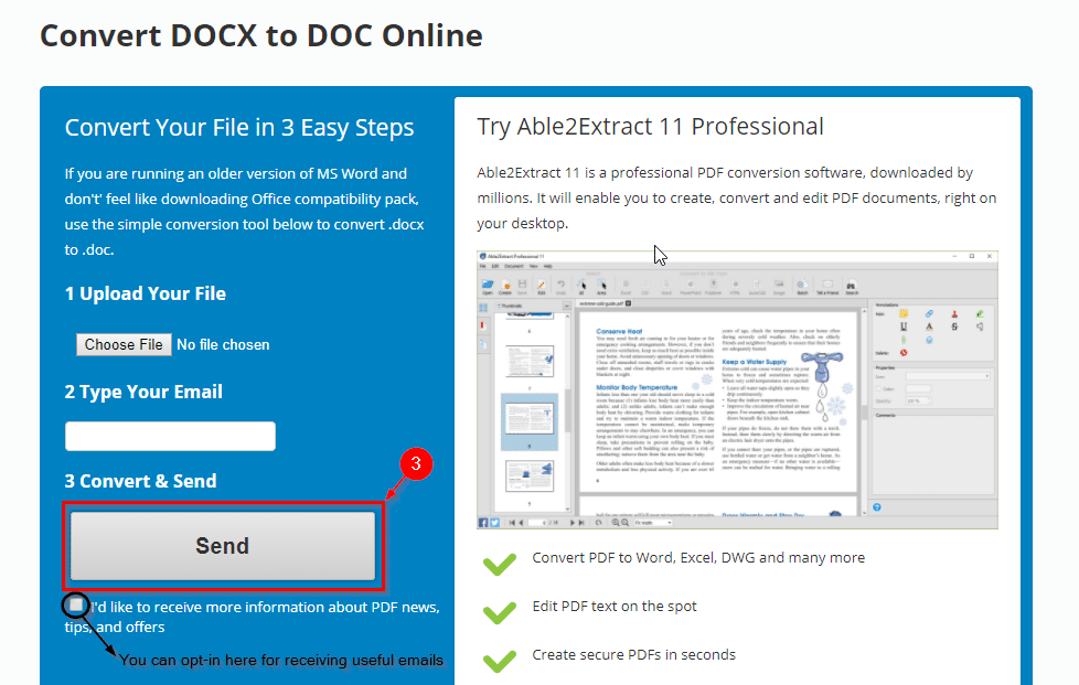 starting the .docx to .doc conversion process