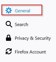 general settings in firefox