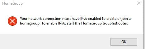 enable ipv6 error in Windows 10 homegroup