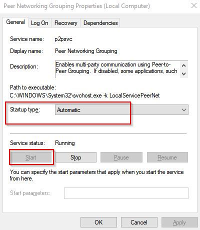 setting peer networking grouping service to start automatically