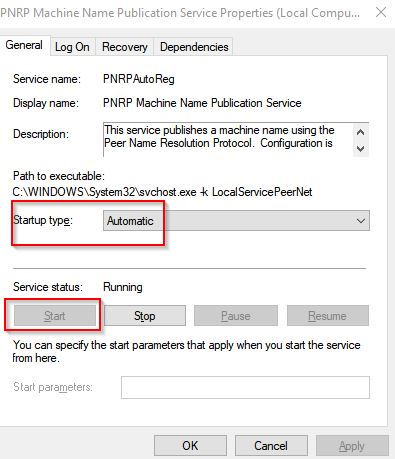 setting PNRP machine name publication service to start automatically