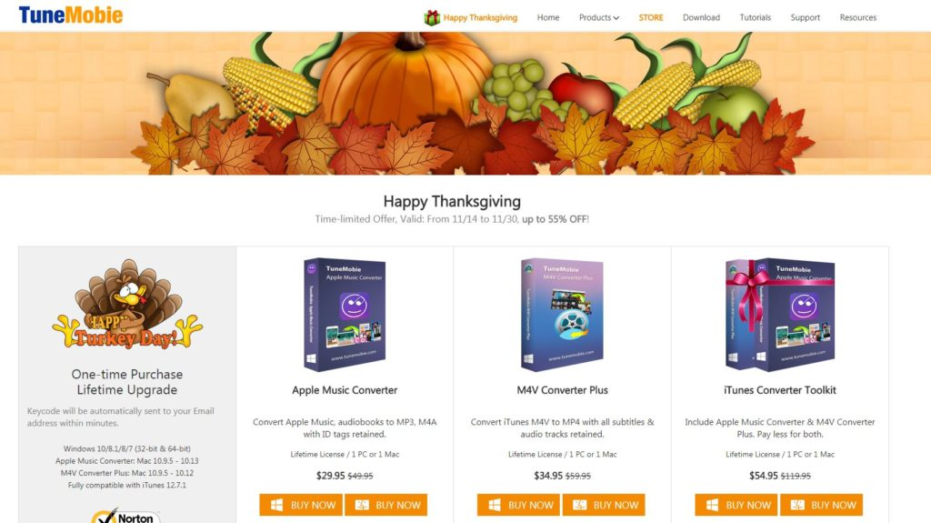 tunemobie thanksgiving giveaway page